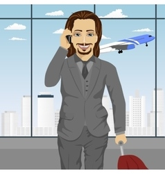 Business man at airport standing with with luggage vector