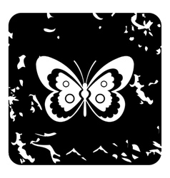 Butterfly icon grunge style vector image