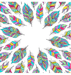 card with colorful feathers vector image