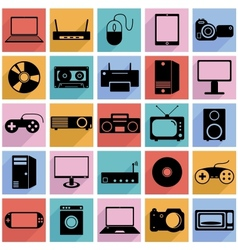 Collection flat icons with long shadow Eectronic vector image vector image
