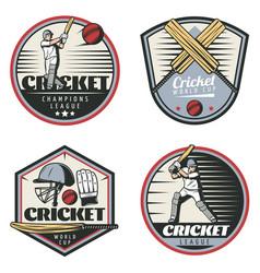 colored vintage cricket sport emblems set vector image vector image