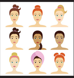 cosmetic facial mask on different girls vector image vector image