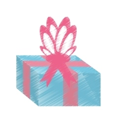Drawing gift box pink ribbon surprise vector
