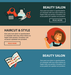 Hairdresser beauty salon haricut style flat vector
