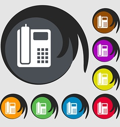 Home phone icon symbols on eight colored buttons vector