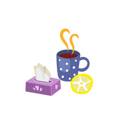 Hot drink with lemon napkins set isolated vector
