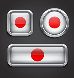 Japan flag glass buttons vector image vector image