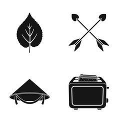 Leaf arrows and other web icon in black style vector
