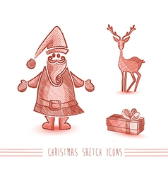 Merry Christmas sketch style red elements set vector image vector image