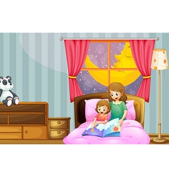 Mother telling bedtime story at night vector