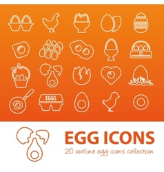Outline egg icons vector