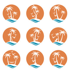 palm icons set vector image
