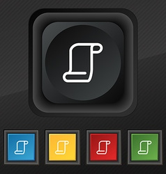 Paper scroll icon symbol set of five colorful vector