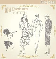 retro fashion set vector image vector image