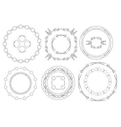 Round frames - set of vintage elements vector