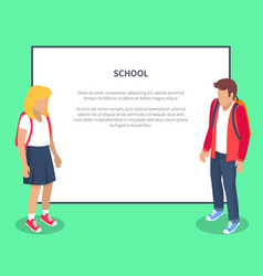 school pupils cartoon characters place for text vector image