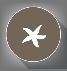 sea star sign white icon on brown circle vector image vector image