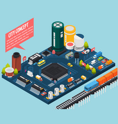Semiconductor electronic components isometric city vector