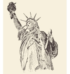 Statue of Liberty Hand Drawn Engraved Sketch vector image vector image