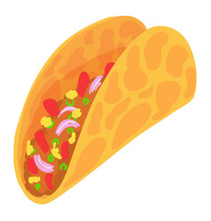 Taco icon cartoon style vector