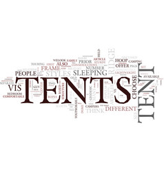 Tent styles text background word cloud concept vector