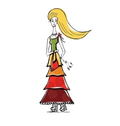 The blonde girl in gypsy dress with bag linear vector