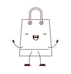 Trapezoid animated kawaii shopping bag icon with vector