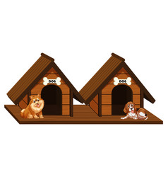 Two wooden doghouses with dogs vector