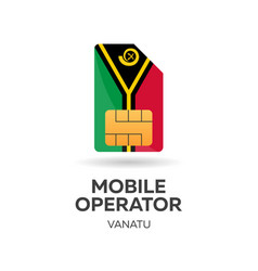 Vanatu mobile operator sim card with flag vector