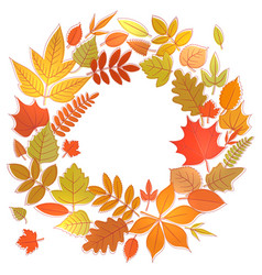 Wreath of autumn leaves vector