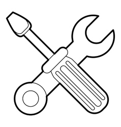 Crossed screwdriver and wrench icon outline style vector