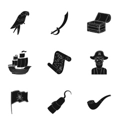 Pirates set icons in black style big collection vector