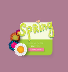 spring sale label with beautiful flowers vector image