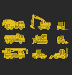 Construction machinery icons vector