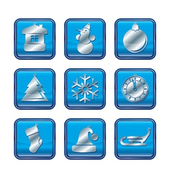 Ny icon set blue vector