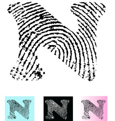 Fingerprint alphabet letter n vector