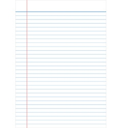 Notebook paper full page isolated background empty vector