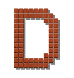 Letter d made from realistic stone tiles vector