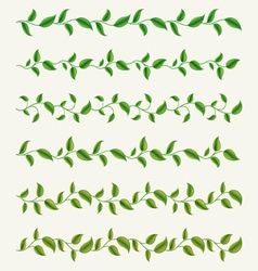 borders from green leaves set vector image
