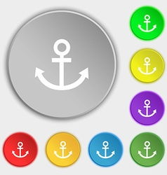 Anchor icon symbols on eight flat buttons vector