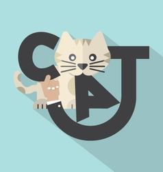 Cat typography design vector