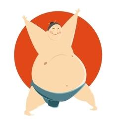 Fat sumo fighter vector