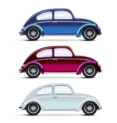 Set of multicolored old cars vector