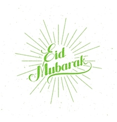 Handwritten eid mubarak retro label vector