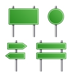 Green road sign set on white background vector