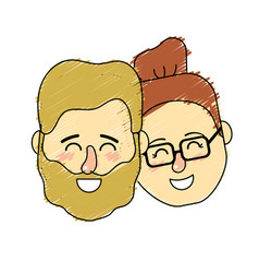 avatar couple head with hairstyle design vector image vector image