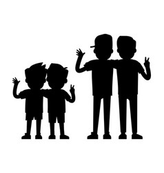 best friends silhouettes isolated on white vector image