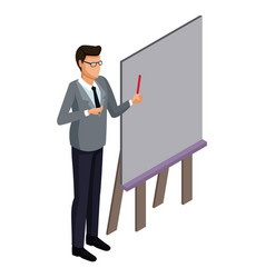 businessman on presentation 3d vector image vector image