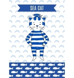 Card cute retro seaman vector