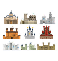Castles and fortresses icon set vector